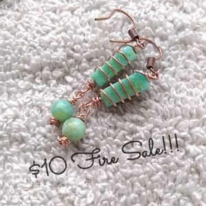 $10 $ALE! Copper Wrap Teal Green Jasper Earrings